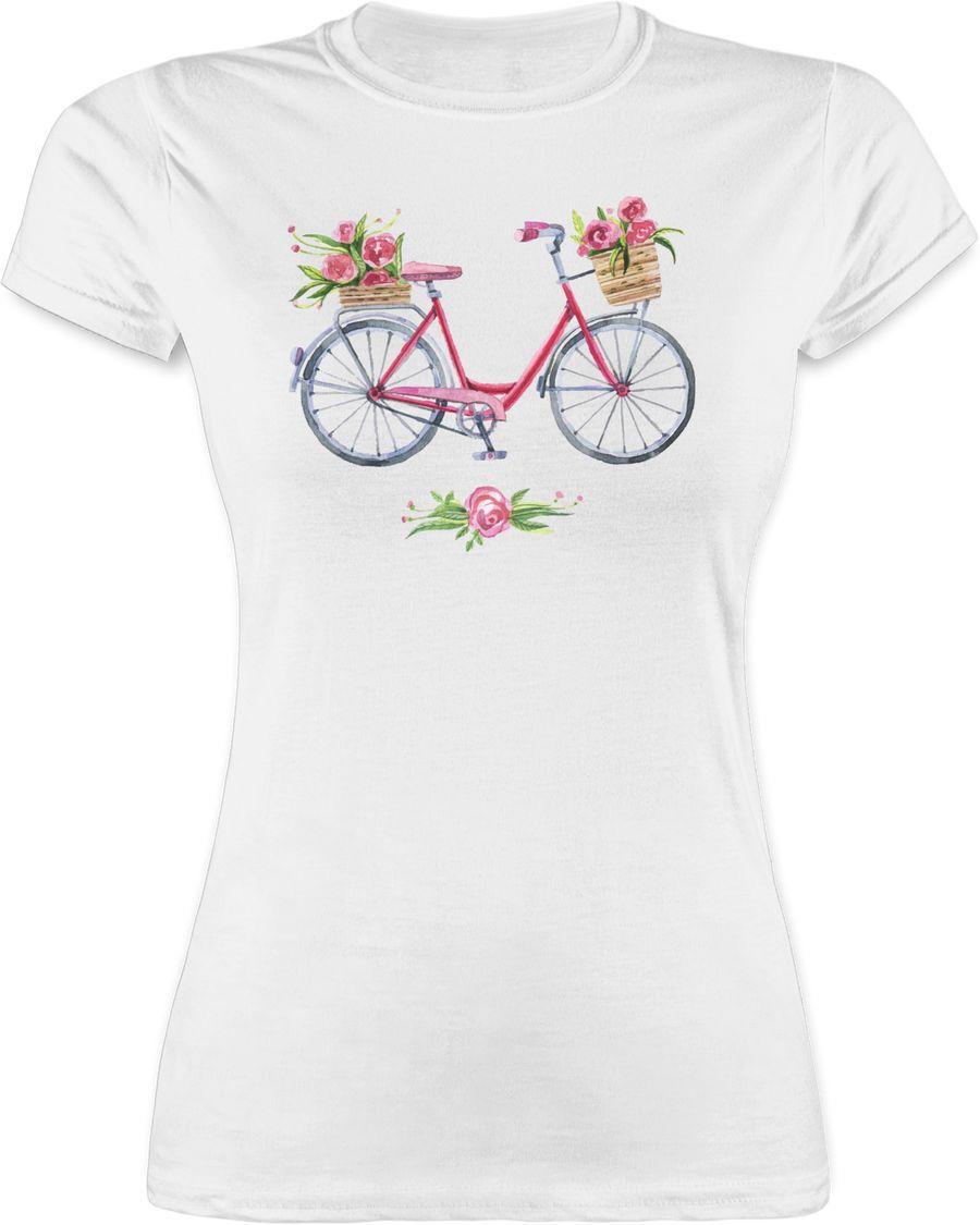 Vintage Fahrrad Wasserfarbe Blumen